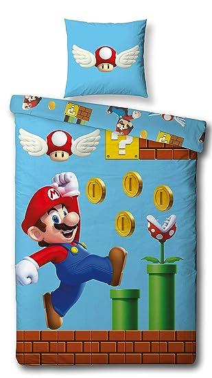 Character World Wende Bettwäsche Set Super Mario 135x200 Cm 80x80