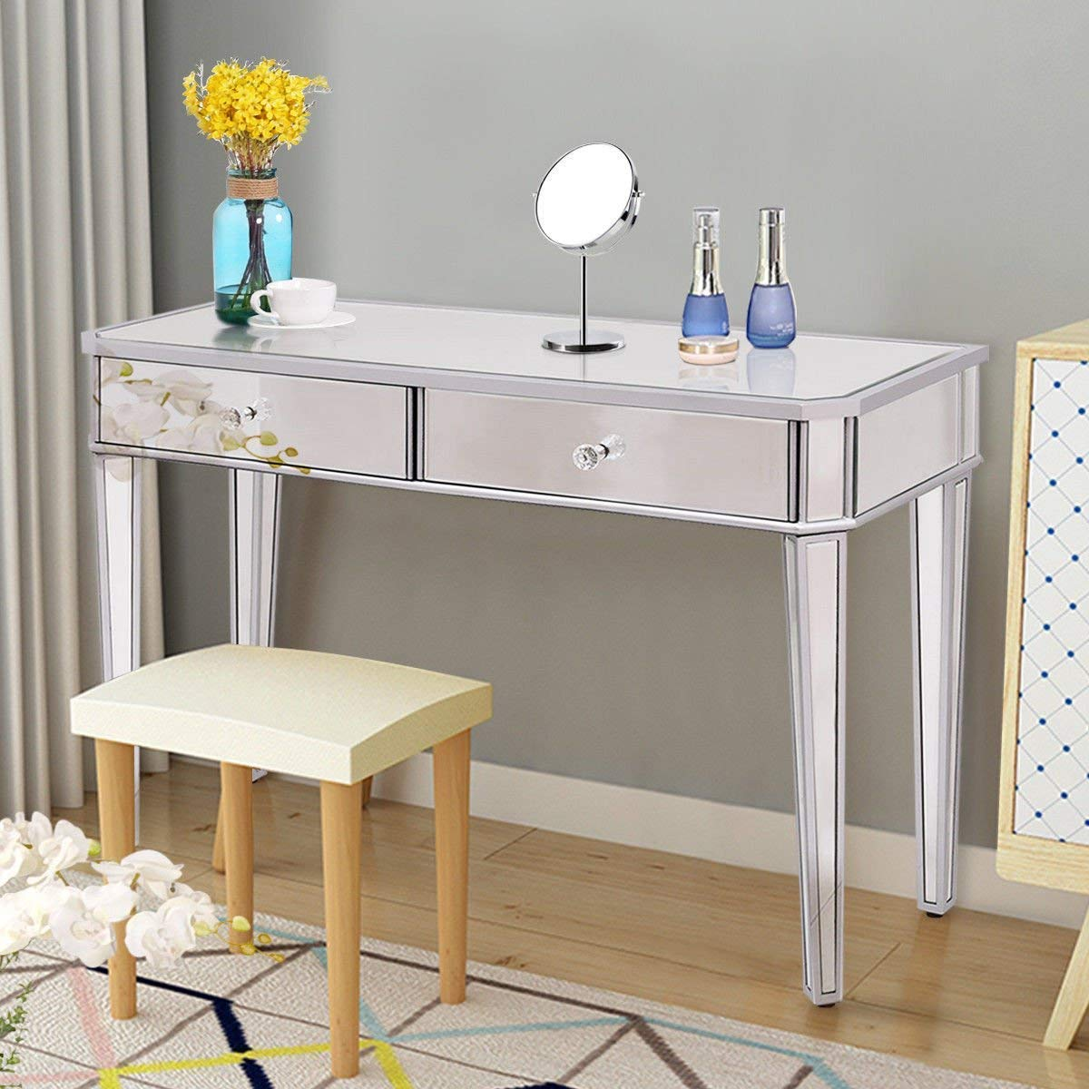 Tangkula Mirrored Makeup Table Desk Vanity for Women with 2 Drawers Home Office Smooth Silver Finish Vanity Dressing Table for Women Large Storage Drawers Writing Desk Modern Media Console Table by Tangkula