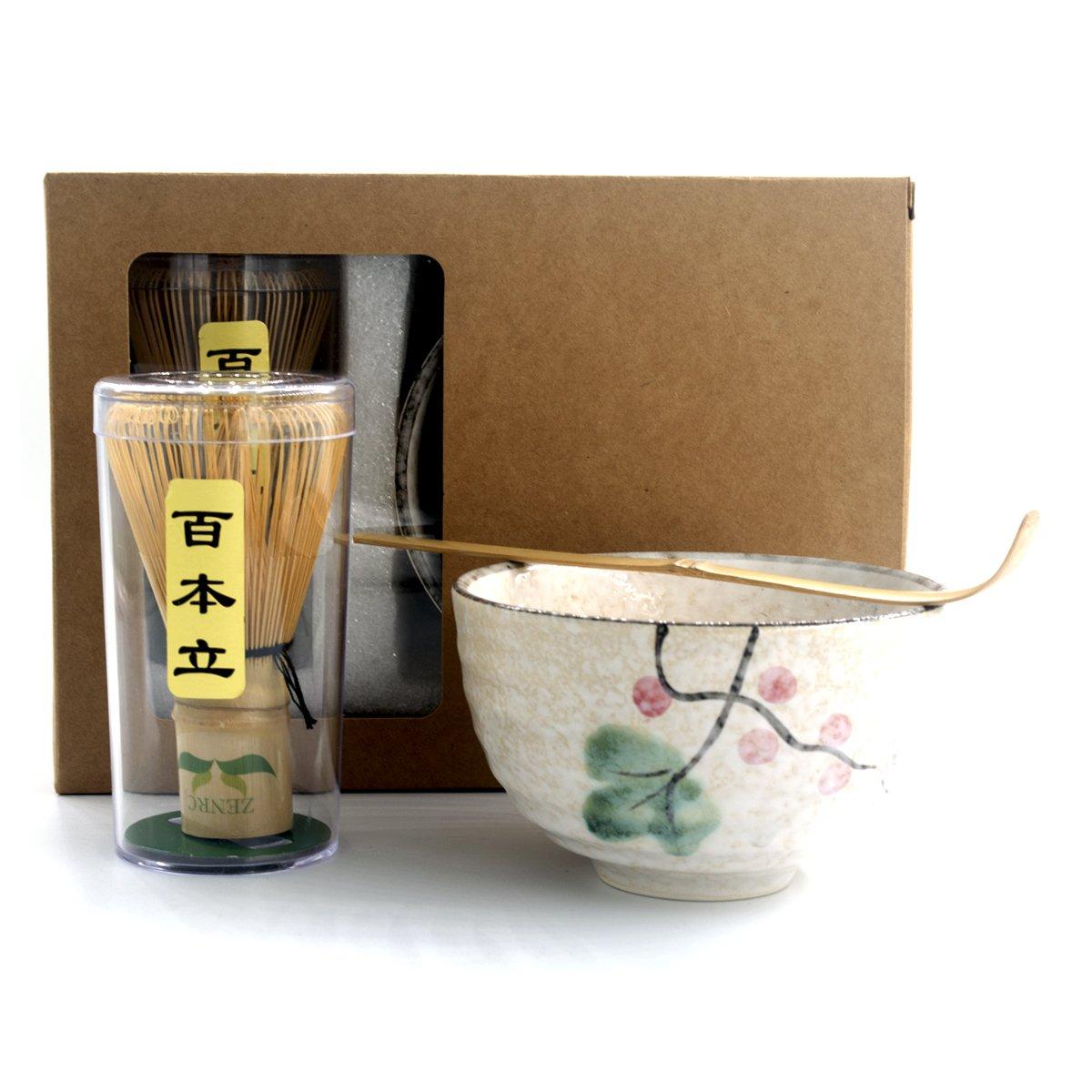Complete Start Up Matcha Tea Kit - Retro Japanese Natural Bamboo Matcha Whisk ( Chasen ) - Scoop - Matcha Bowl - Whisk Holder - Ceremony Matcha tea Sets (Lotus flower, 3/PC Set) by ZENRC