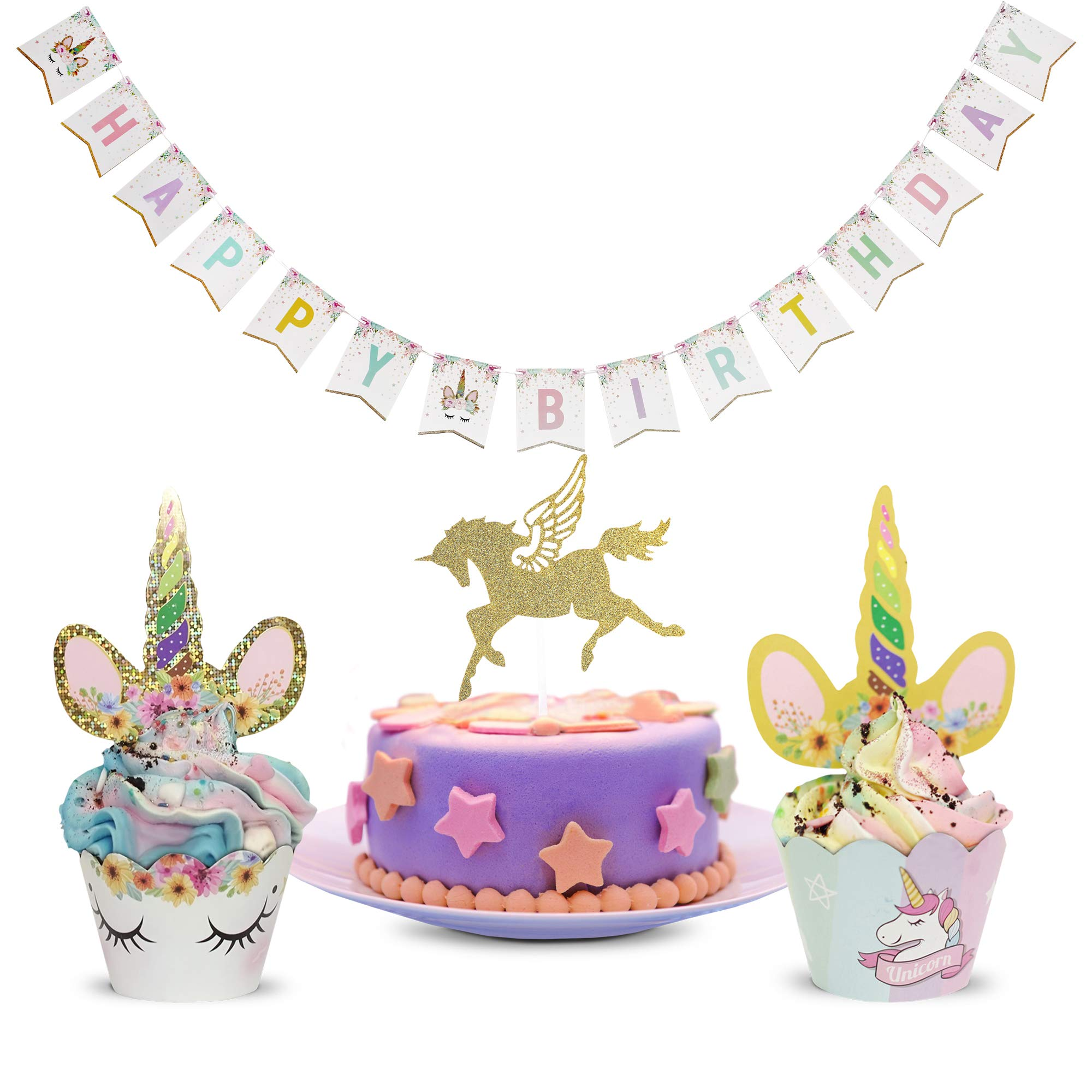 Unicorn Cake Toppers and Wrappers | Rainbow Party Set for Birthday, Baby Shower, Wedding | Double Sided Wrappers, Cupcake Toppers and Birthday Banner – Complete Set of 73 Pieces