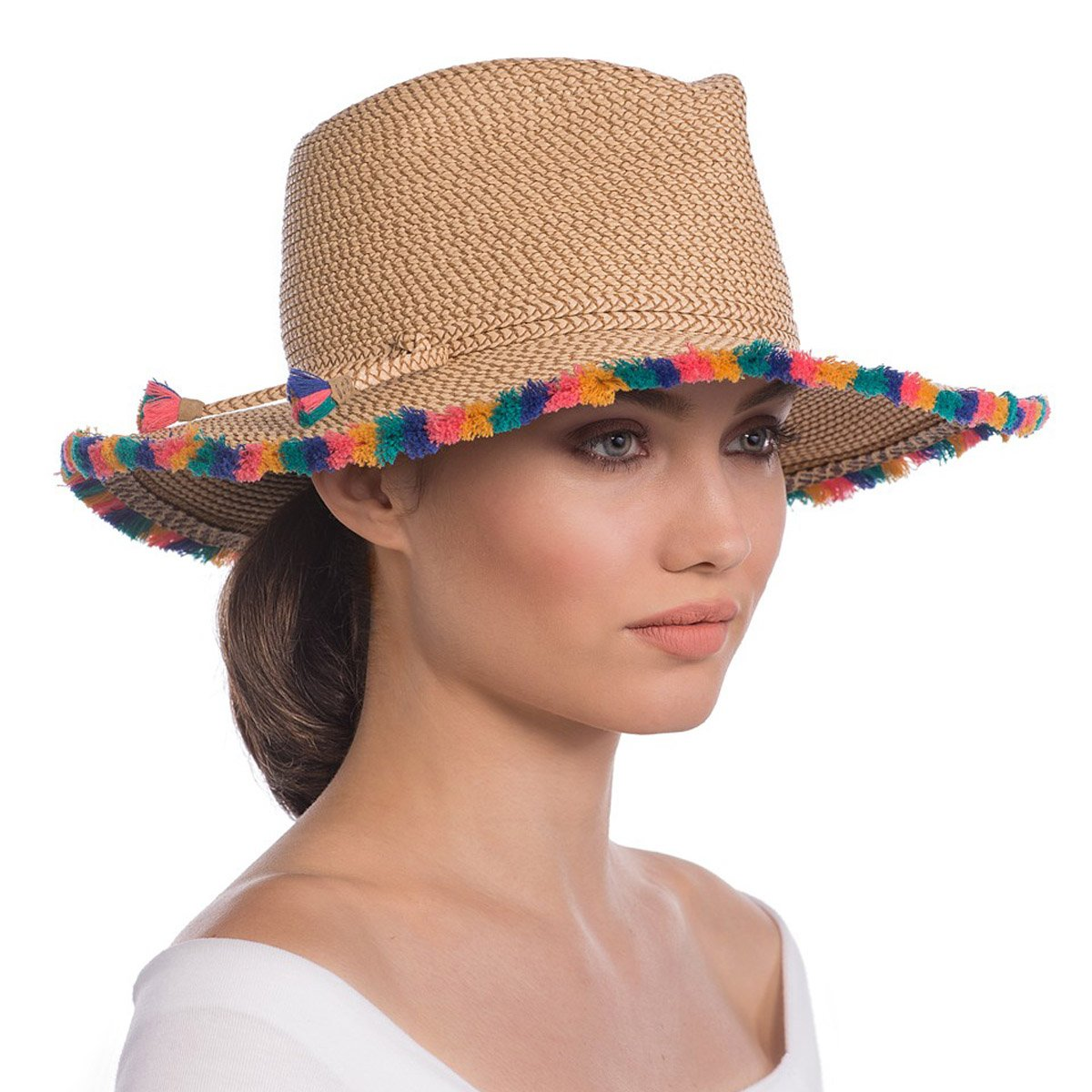 Eric Javits Luxury Fashion Designer Women's Headwear Hat - Frida - Peanut Mix