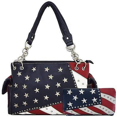 c66c96c3858 American Flag Stars and Stripes Rhinestone Women Leather Handbag Country  Purses Wallet Set Red White Blue  Handbags  Amazon.com