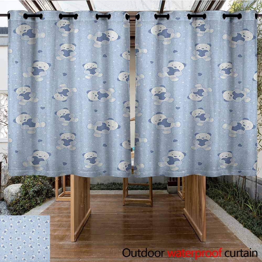 Andytours Curtains For Bedroom Boys Teddy Bears On Blue Backdrop Holding Hearts Baby Shower Theme Toddler Curtains For Living Room K140c115 Baby Blue Cadet Blue White Amazon Co Uk Garden Outdoors