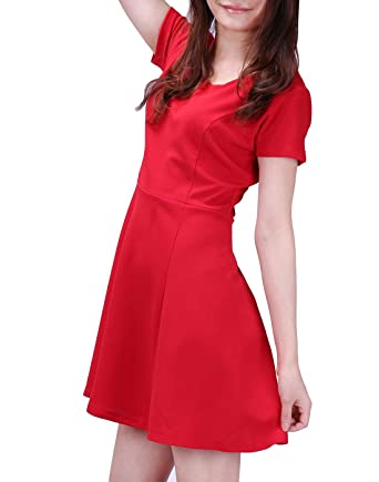Hde Womens Plus Size Skater Dress Short Sleeve Fit Flare Casual