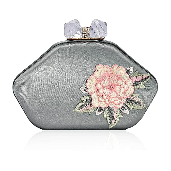 Vintage & Retro Handbags, Purses, Wallets, Bags Damara Womens Flower Embroidery Rhinestone Snap Evening Bag $33.99 AT vintagedancer.com