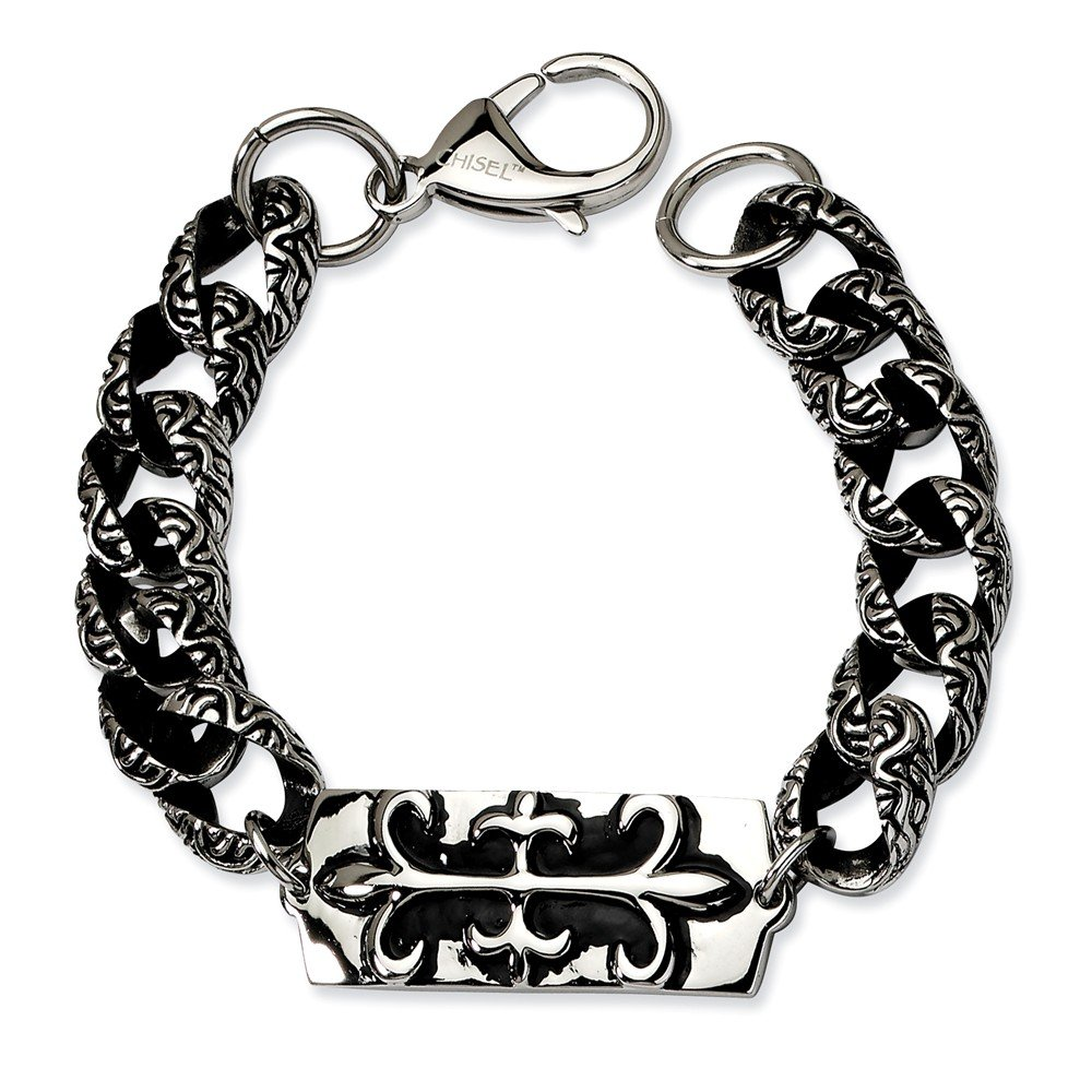 Stainless Steel Antiqued-Style Fluer de Lis 9in Bracelet (16mm) by Sonia Jewels