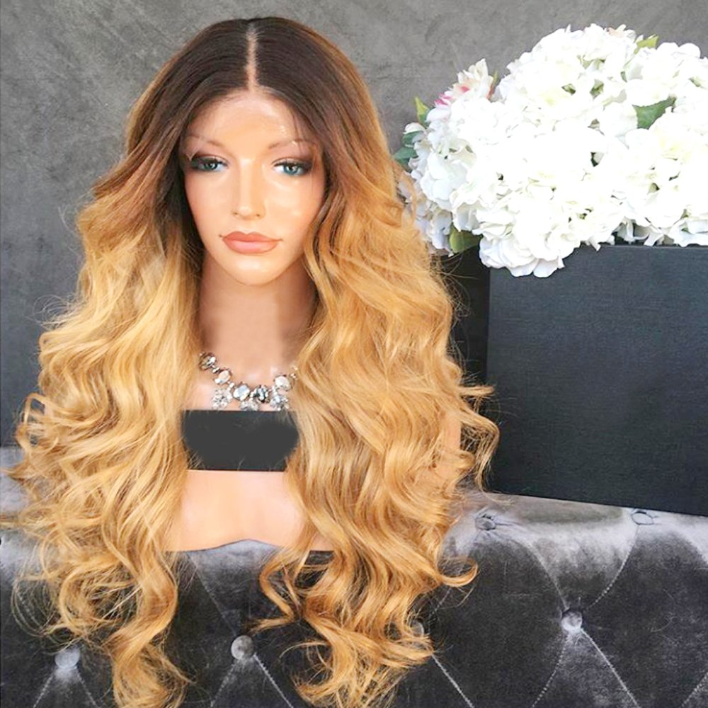 Wicca Brazilian human hair Ombre blonde Full lace wigs Dark root Loose wave Lace front wig Bleached knot Pre plucked hairline 150%density (18inch, 1b/27 lace front wig) by Wicca (Image #1)