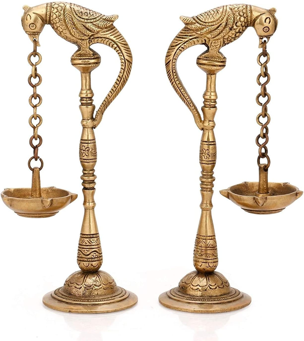 PARIJAT HANDICRAFT Bird Diya Oil lamp Stands Brass Hindu Religious puja Article Also use for fengshui Gifts and Home Temple Oil Diya Hanging in Chain from Beak (2)