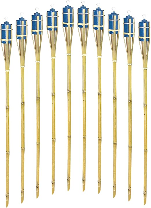 """6Pack 60/""""Bamboo Torches with Oil Canisters for Outdoor Decoration,Blue"""