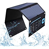 BigBlue 28W Solar Charger Foldable Outdoor Solar Powered Charger with SunPower Solar Panels Dual USB Ports for iPhone iPad Samsung Galaxy LG Cellphones and Devices