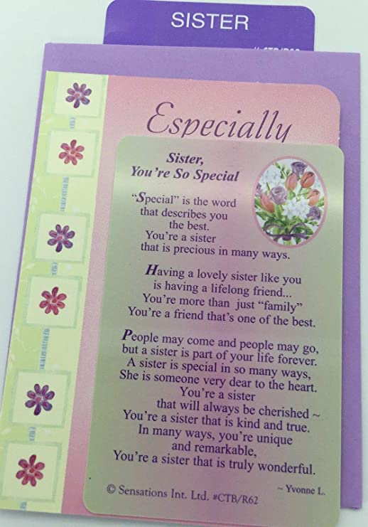 gift Sister You/'re So Special, age Sentimental Keepsake Wallet // Purse Card