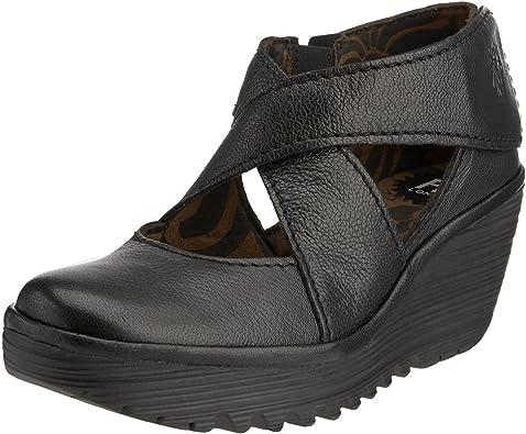 FLY London Yogo Black Leather Womens