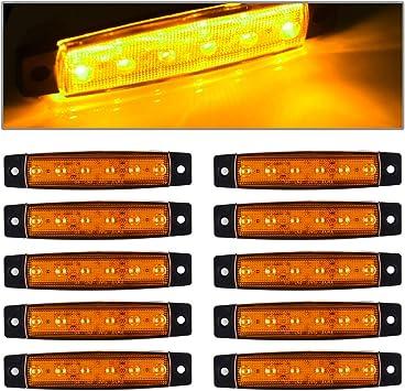 Trucks Rear side marker light RV Trailer lights Marker lights Trailer led marker lights 10 pcs TMH/® 3.8 6 LED Amber Side Led Marker