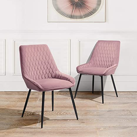 Set Of 2 Furniture R Dining Chairs Velvet Upholstered Side Chairs Comfort Soft Padded Seat With Metal Legs For Dining Room Pink Amazon Ca Home Kitchen