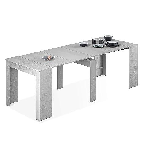Habitdesign 004580L - Mesa de Comedor Consola, Mesa Extensible, Mesa para Salon recibidor o Cocina, Acabado en Gris Cemento, Medidas: 50/235 cm ...