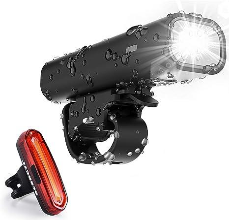 OUNDEAL Luces de Bicicleta Set Impermeable, Luz LED Bicicleta Set ...