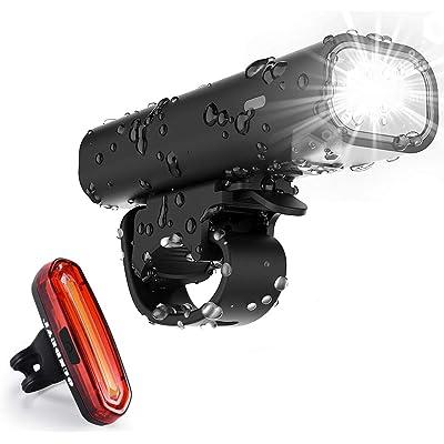 runhua OUNDEAL Luz Bicicleta Set Impermeable, Luz LED Bicicleta Set Recargable USB con Luz Trasera Bicicleta, Luz Delantera Bicicleta para Ciclismo Seguridad