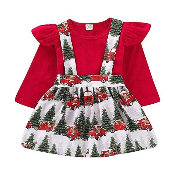 c880dcdb9a ALLureLove Toddler Baby Girl Infant Plain T Shirts Suspender Overall Skirt  Set Cotton Christmas Outfits Dress