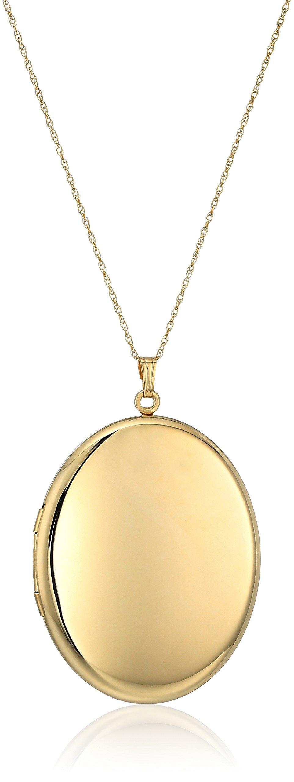 14k Gold-Filled Extra-Large Polished Finish Oval Locket Necklace, 30''