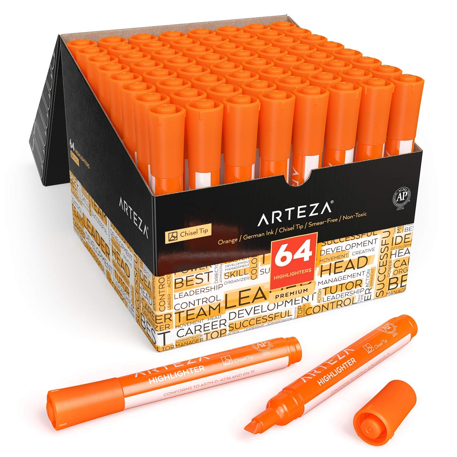 Arteza Highlighters Set of 64, Orange Color, Wide Chisel Tips, Bulk Pack of Markers, for Office, School, Kids & Adults