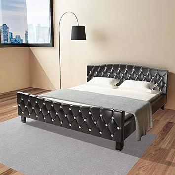 WEILANDEAL Cama Doble con colchon viscoelastico 180x200 cm Negra Camas Altura de la Cama Desde el Suelo: 29,5 cm: Amazon.es: Hogar