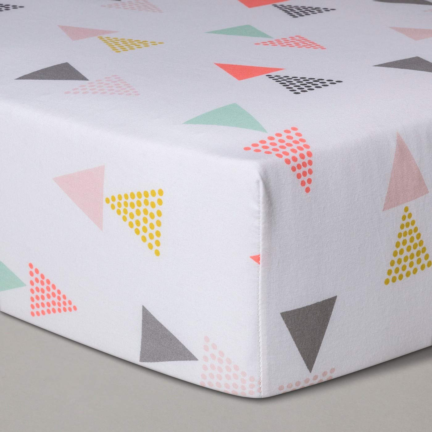 Cloud Island Triangles Pink Fitted Crib Sheet