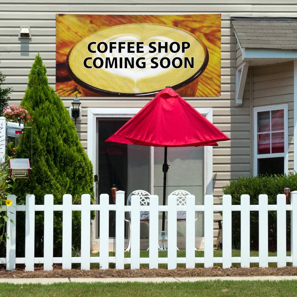 Vinyl Banner Sign Coffee Shop Coming Soon Coffee Shop Marketing Advertising Brown 44inx110in Multiple Sizes Available One Banner 8 Grommets