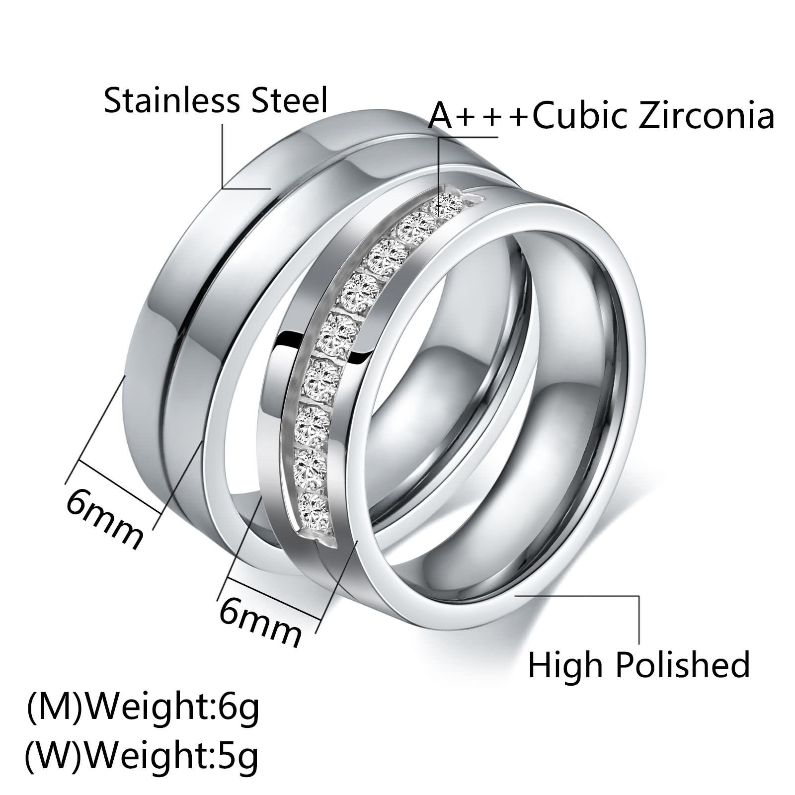 Aeici Stianless Steel Silver ''Forever Love'' Couples Promise Ring Romantic Couples Gift Women Size 9 & 10 by Aeici (Image #4)