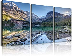 Wall art decor posters painted on canvas print pictures of moraine lakes and mountains sunset mountains landscape mountains & lake frame paintings for family decor living room artwork