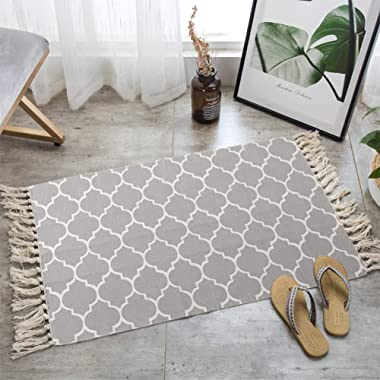LEEVAN Moroccan Area Rug,Hand Woven Cotton Cream Chic Diamond Printed Tassels Throw Rugs Door Mat,Indoor Floor Area Rugs Blanket Compatible Bedroom,Living Room,Children Playroom (2' x 3', Moroccan)