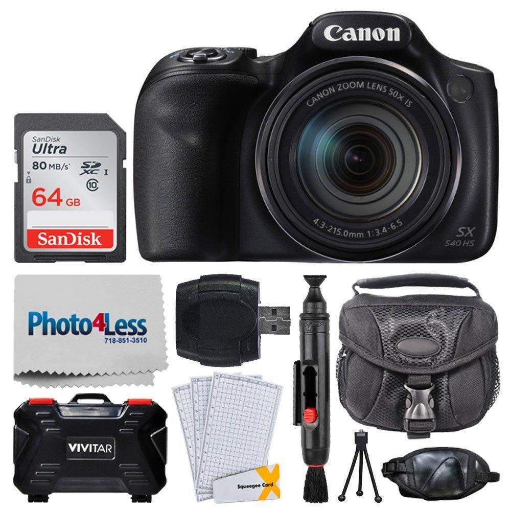 Canon PowerShot sx540 HSデジタルカメラ+ 64 GBメモリカード+ scb650デジタルユニバーサルスモールガジェットバッグ+ USBカードリーダー+ Vivitarメモリハードケース(24スロット) +ハンドグリップ+ Complete Accessoryバンドル   B07G19QQH6