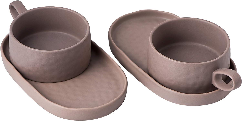 Set of 2 large 16 OZ Porcelain Jumbo soup bowl, coffee/Tea cup and cereal mug with saucer, Mug Cake, Soup cup with extra-large saucer, large capacity cereal mug with large handle dorm (Khaki)