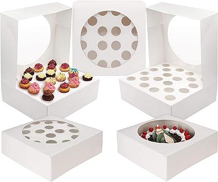 Kurtzy 5 PC Cupcake Boxes - Cupcake Holder 28.5 x 28.5cm Almacena hasta 20 Cupcakes o Large Cake - Bandeja de cartón Muffin con ventana transparente para boda, fiesta de cumpleaños: Amazon.es: Hogar