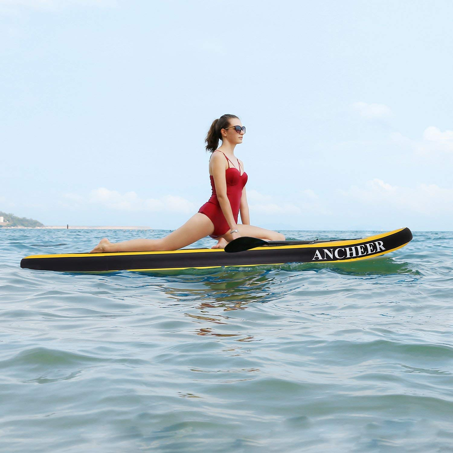 ANCHEER Inflatable Stand Up Paddle Board 10', Non-Slip Deck(6 Inches Thick), iSUP Boards Package w/Adjustable Paddle, Leash, Hand Pump and Backpack, Youth & Adult by ANCHEER (Image #8)