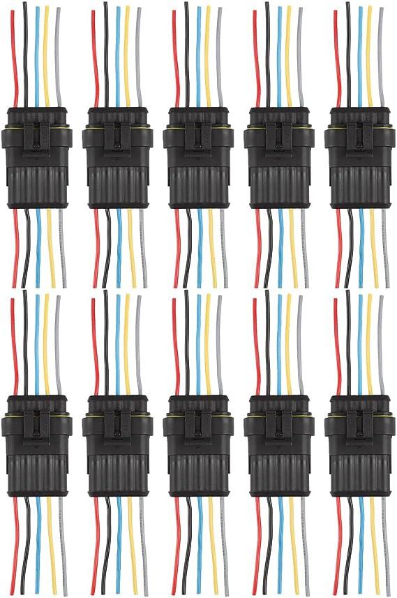 Andux Zone connettore a spina per connettore per auto cavo sigillato impermeabile 10 pezzi QCLJQDX-01 2 pin