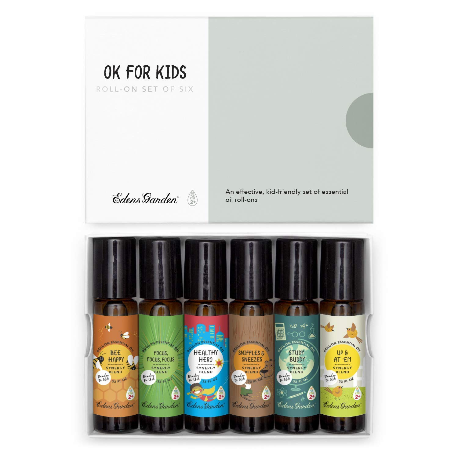 "Edens Garden""OK For Kids"" Roll-On 6 Set, Best 100% Pure Essential Oil Synergy Blend Aromatherapy Starter Kit (Child Safe 2+, Pre-Diluted & Ready To Use), 10 ml Roll-On"