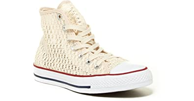 4eb626461846a2 Image Unavailable. Image not available for. Color  Converse All Star Chuck  Taylor Parchment Crochet HI TOP 551538F Women ...