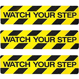 """3Pack Watch Your Step Non-Slip Stair Warning Sticker Adhesive Tape Help Prevent Falls Anti Slip Abrasive Treads for Workplace or Home Safety Wet Floor Caution, 6"""" x 24"""""""