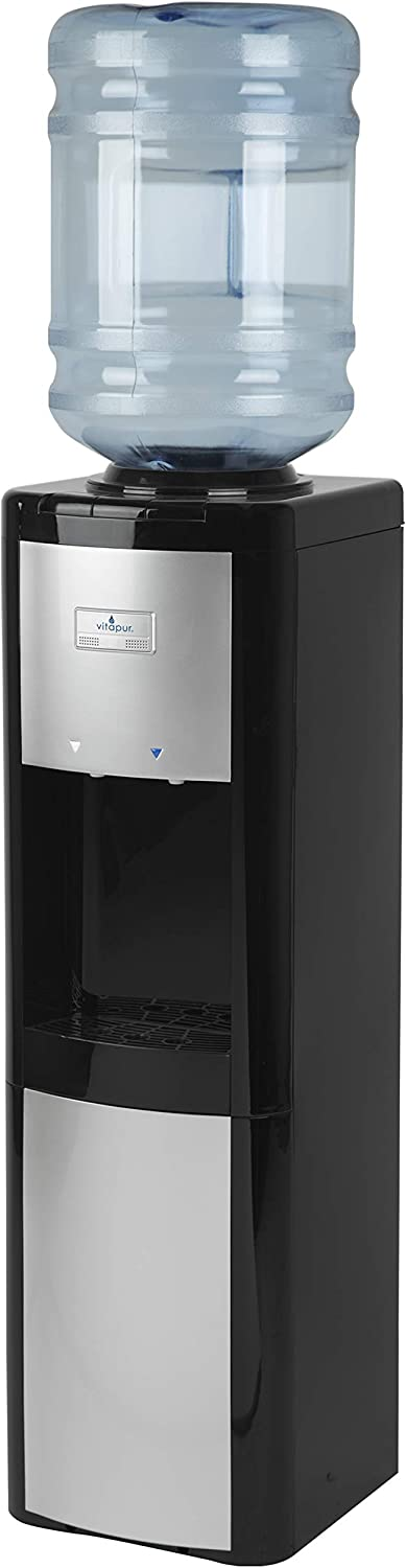Vitapur Top Load (Room and Cold) Black/Platinum Water Dispenser, one size