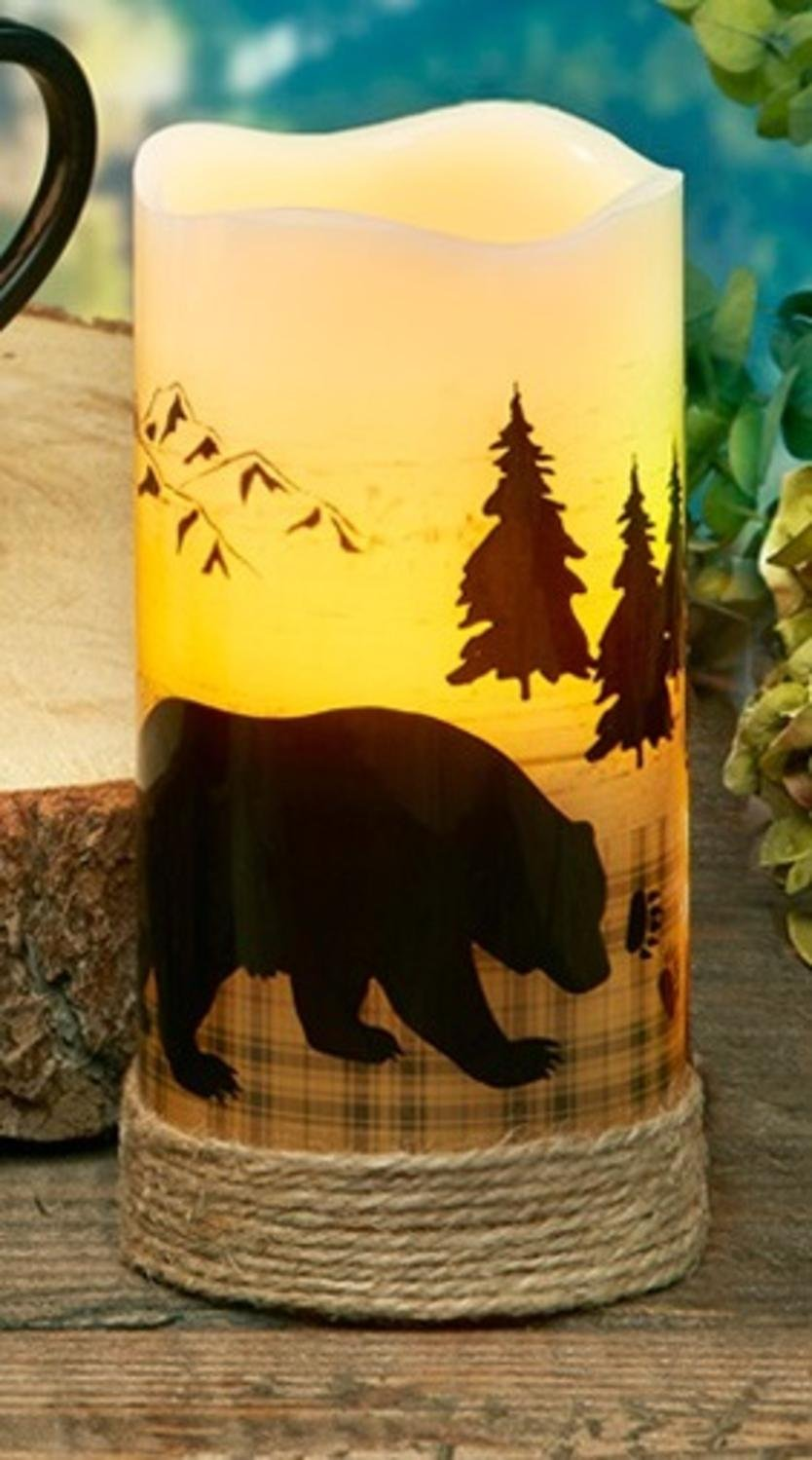 CC Home Furnishings Pack of 4 Country Rustic Bear LED Lighted Wax Flameless Pillar Candles with Timer 6''