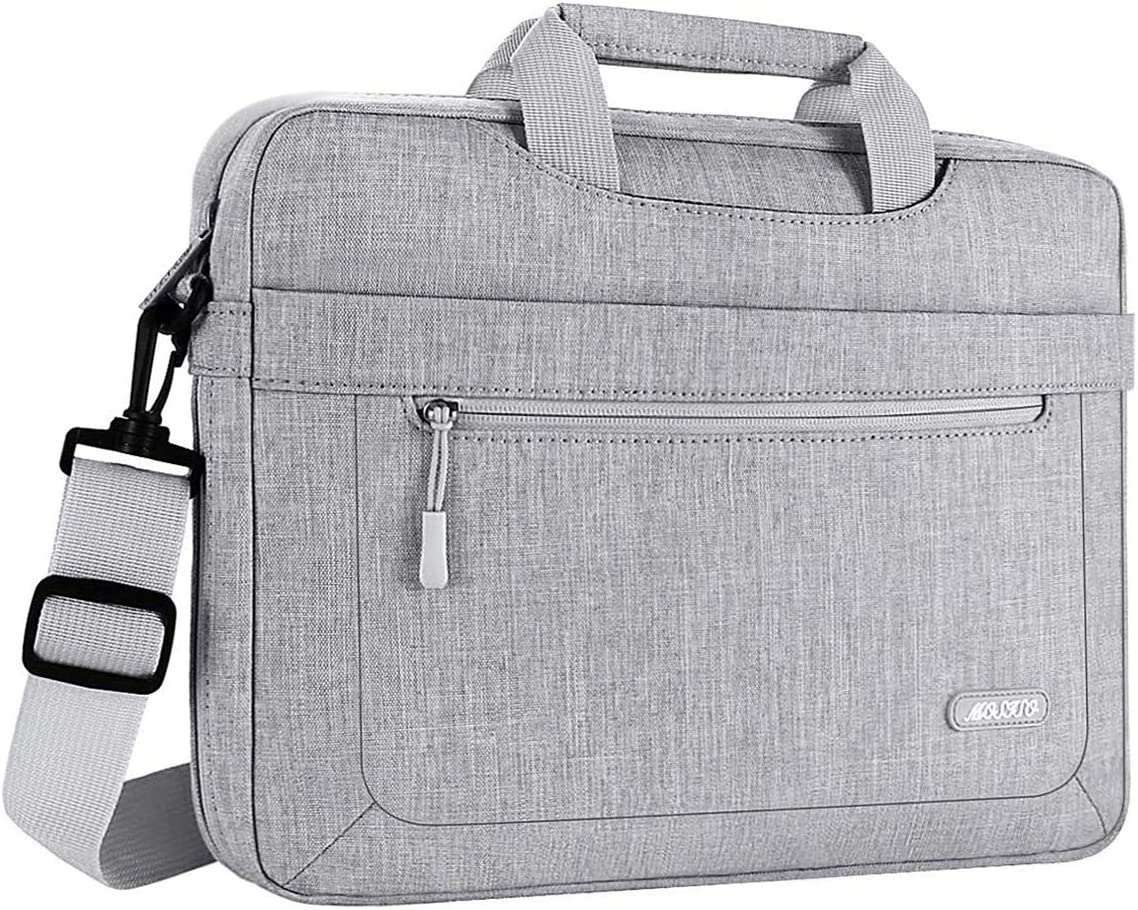 MOSISO Laptop Shoulder Bag Compatible with 13-13.3 inch MacBook Pro, MacBook Air, Notebook Computer, Polyester Messenger Carrying Briefcase Sleeve with Adjustable Depth at Bottom, Light Gray