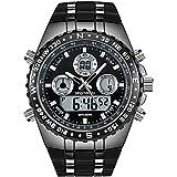 メンズ腕時計 多機能 アナデジ スポーツ ウォッチ ミリタリー 防水 バックライト 時計
