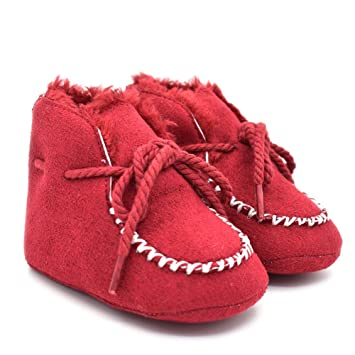 70309f7d9e7 Amazon.com   Treney Baby Boys Girls Soft Sole Suede Pure Handmade Warm  Winter Snow Boots Toddler Shoes (Red