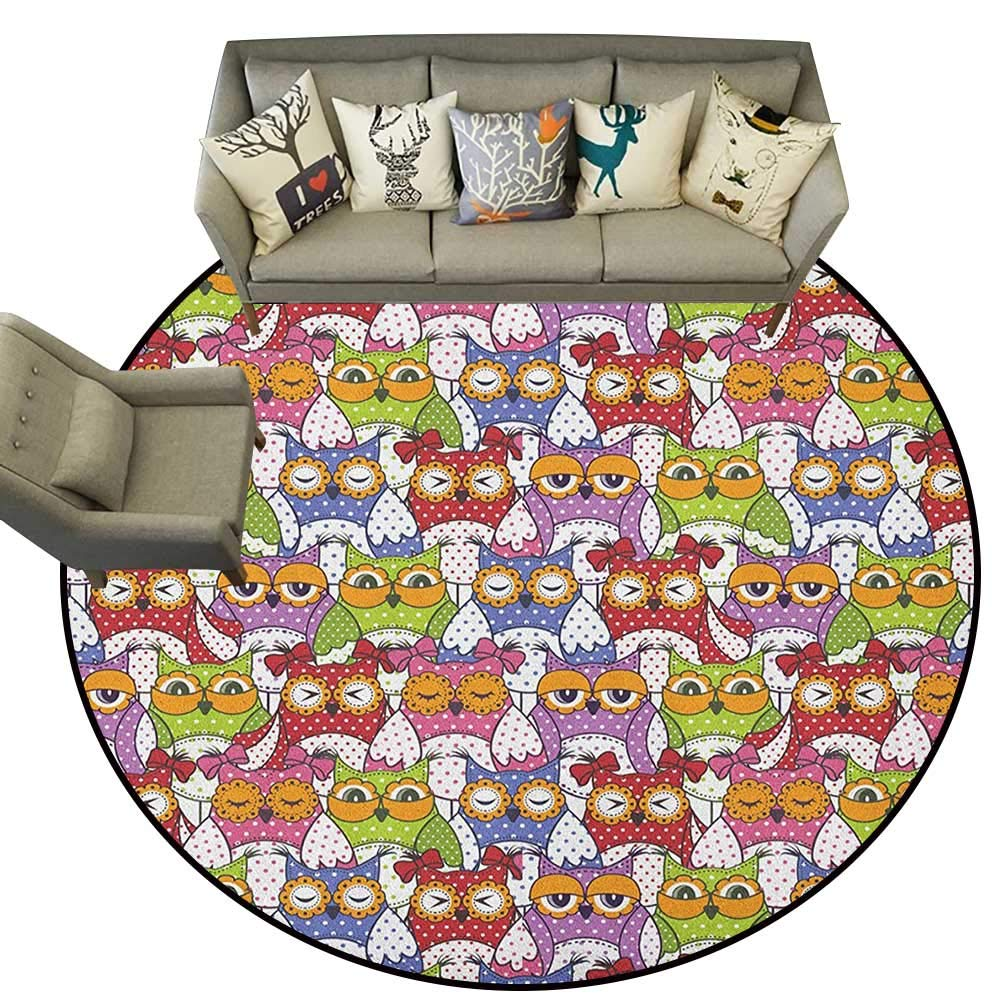 Owl,Low-Profile Mats Ornate Owl Crowd with Different Sights and Polka Dots Like Matryoshka Dolls Fun Retro Theme D60 Non-Slip Modern Carpet by ParadiseDecor