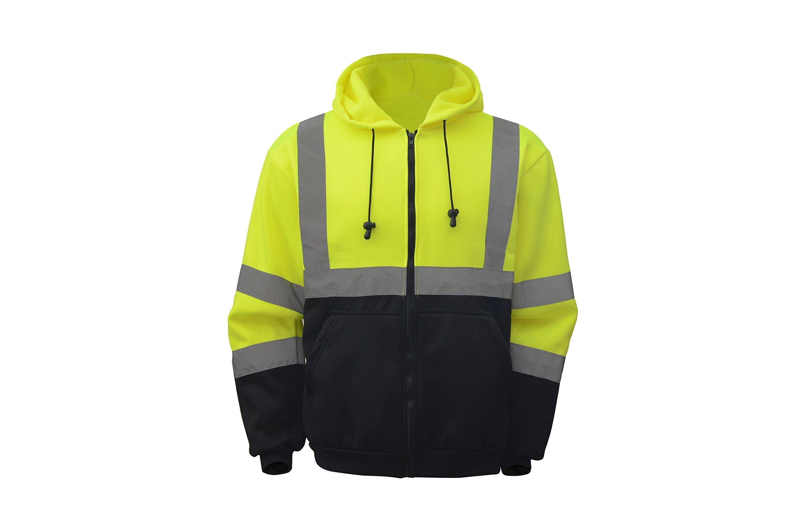 CJ Safety CJHVSS3001 ANSI Class 3 High Visibility Black Bottom Hoodie Safety Sweatshirt (3XL, Green)