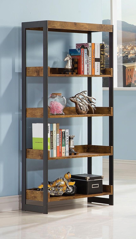 Estrella Bookcase with 4 Open Shelves Antique Nutmeg and Gunmetal