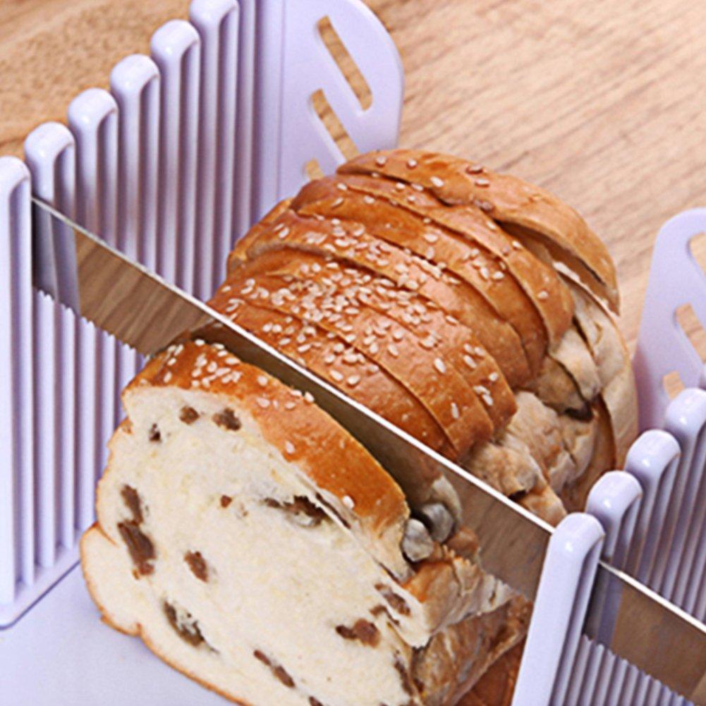 Etach cortador de pan de molde para hornear pan de grosor ajustable guí a de corte demasiado compacto plegable estante tostadas para cortar con blanco cortador molde