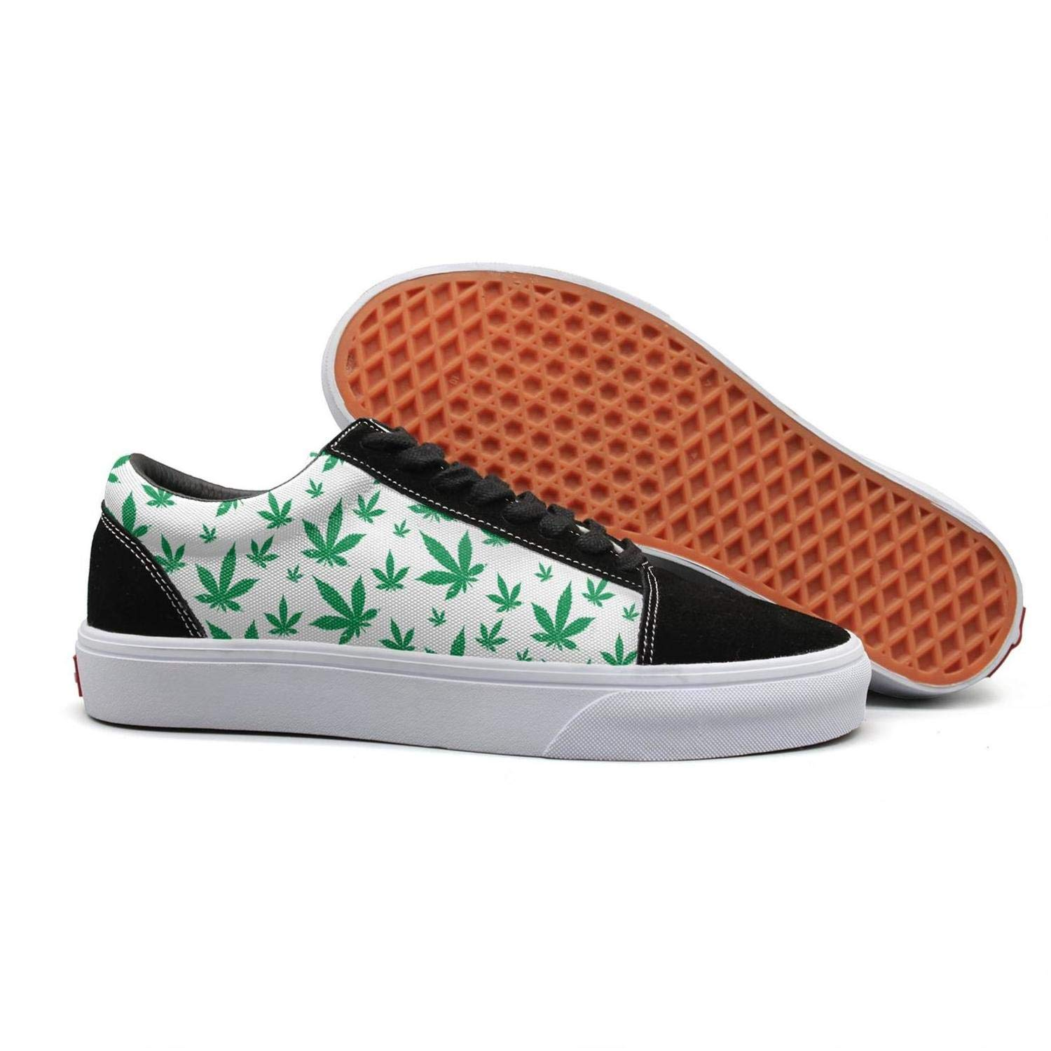 55e9eba77df8c Green Outdoor Cannabis Lace Up Sneakers Canvas Skate Shoes for Women ...