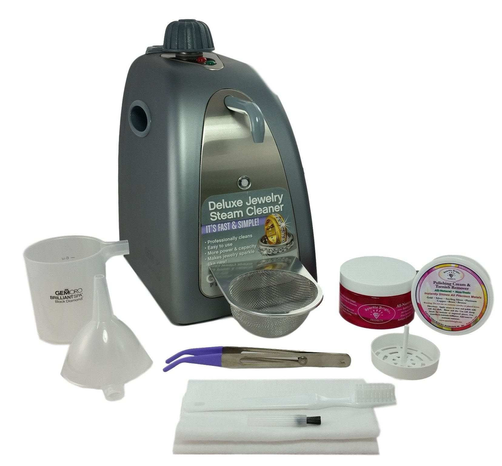 GEMORO 0375 BLACK DIAMOND BRILLIANT SPA SLATE GRAY STEAM JEWELRY CLEANING KIT Includes Sparkle Bright Products Jewelry Cleaner Kit