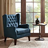 Maxwell Button Tufted Wing Chair Navy See below